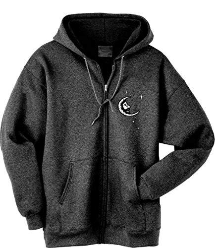 Blue Mountain Dyes LLC Grateful Dead Hooded Sweatshirt Jerry Moon Zip Up Hoodie (Small) Grey