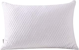 NTCOCO Pillow, Shredded Memory Foam Bed Pillows for Sleeping, with Washable Removable Bamboo Cooling Hypoallergenic Sleep Pillow for Back and Side Sleeper (White, King (1-Pack))