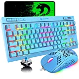 Mechanical Keyboard and Mouse Combo 87 Keys Rainbow RGB Blacklight Luminous Characters Gaming Keyboard with 6400 DPI Lightweight Gamer Mouse Mice Pad for Windows PC Gamers Xbox One PS4 PS5