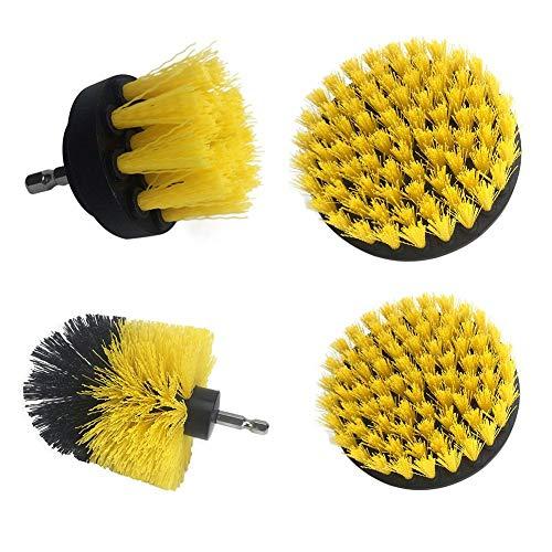 Reinigingsborstel voor elektrische boormachine, zelfreinigende borstel, voor het reinigen van banden van auto, tapijt, keuken, badkamer, zitplaatsen 4 pièces Geel.