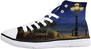 Italian Decor Comfortable High Top Canvas Shoes,View of Leghorn Italy at Sunset Famous Terrazza Mascagni Square Dramatic Sky for Women Girls,US 5