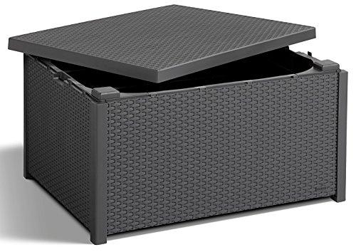 Koll Living grafiet, tafel met kussenboxfunctie in natuurgetrouwe rotan-look, kan veelzijdig worden gecombineerd, 79 x 59 x 42 cm