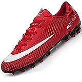 Csgkag Zapatos de Fútbol Hombre Training Botas de Fútbol Spike Aire Libre Profesionales Atletismo Zapatillas de Tacos Futbol,Rojo,EU41