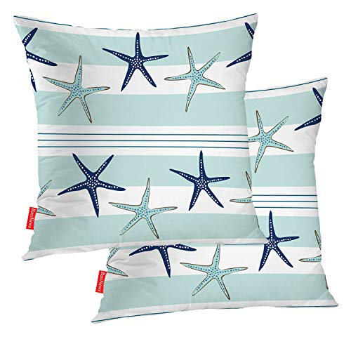 BaoNews Coastal Navy Blue Pillow Covers, Coastal Starfish Repeat Pattern Navy Turquoise Square 18 x 18 Inches Decorative Throw Pillow Covers Cotton Cushion for Sofa Bedroom Car, Blue 06, Set of 2
