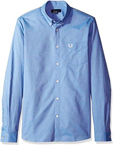 Fred Perry Herren Classic Oxford Long Sleeve Shirt Smokinghemd, Mittelblau, Mittel