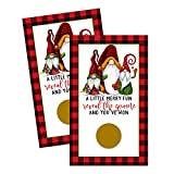 Jolly Gnome Scratch Off Cards (30 Pack) Christmas Party Game - Holiday Prize Drawings - Groups, Kids and Adult - Festive Raffle Tickets - Lumberjack Red and Green