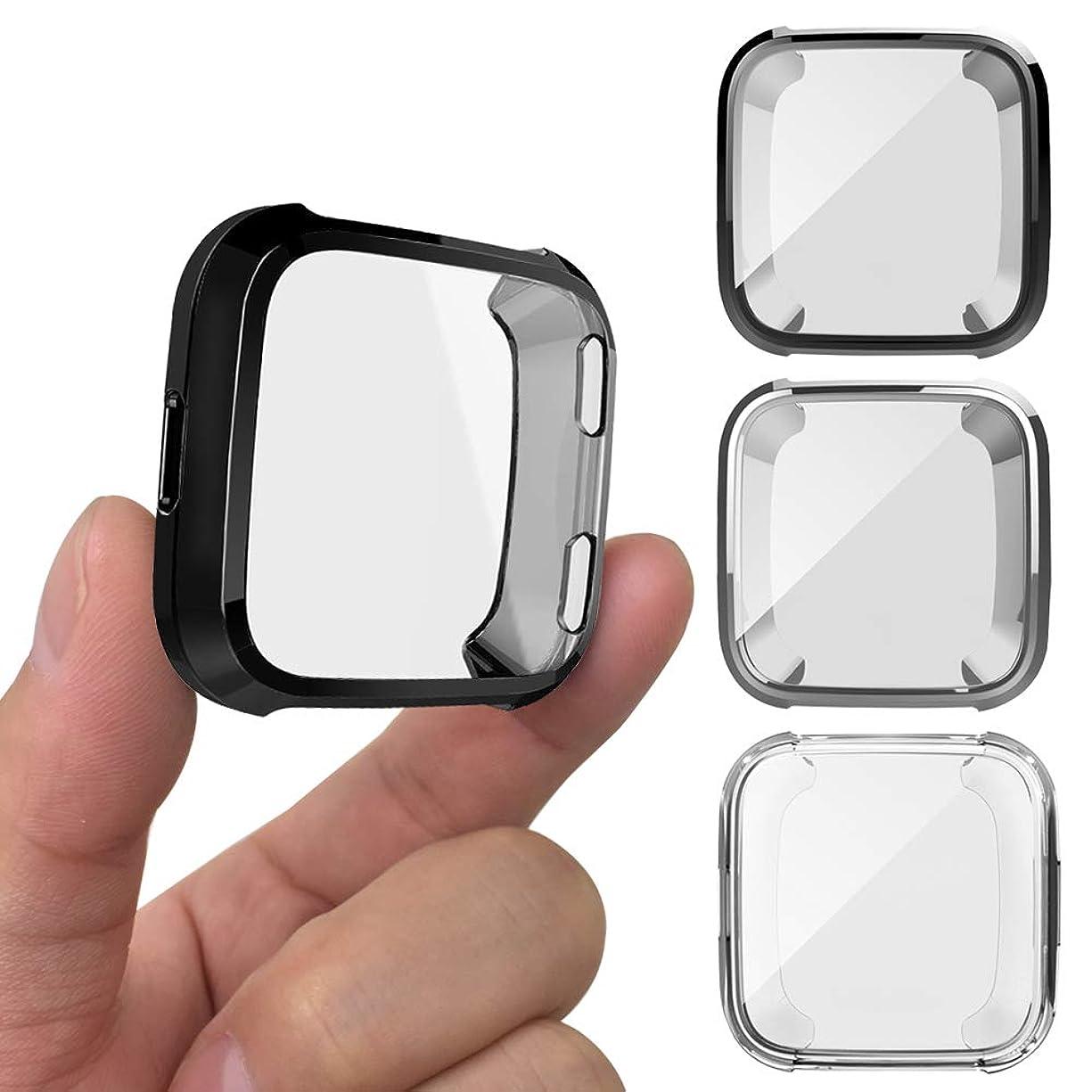 ノベルティ聖歌評判3PCS保護ケース Fitbit Versaスマートウォッチ、AFUNTA TPUスクリーンプロテクター 耐衝撃 カバー 全周囲バンパー保護シェルウォッチ保護- ブラック、シルバー、透明