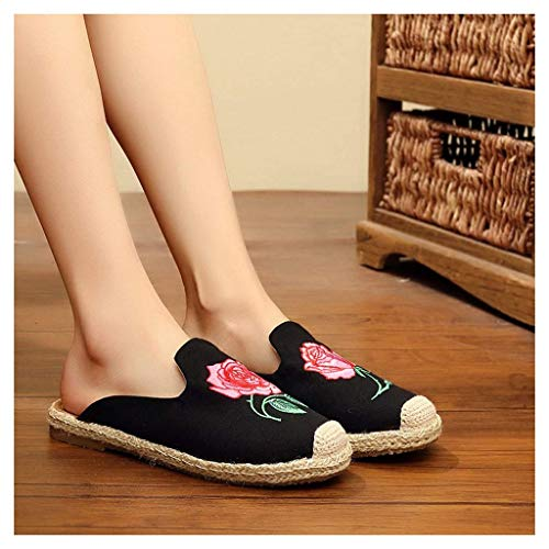 WXDP Pantuflas Calientes,Zapatillas Zapatillas para Mujer, Zapatillas para Mujer, Lino de algodón, Zapatos de Tela Chinos Antiguos de Pekín, Zapatillas para Mujer, Zapatos Retro con Flores bordad