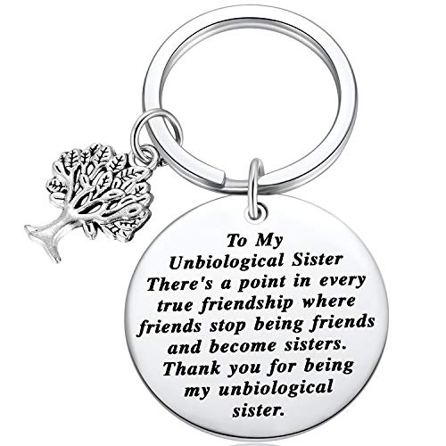 Ralukiia to My Unbiological Sister Friendship Gift Non-Biological Sister Thank You Key Chains with Tree of Life Charm for Soul Sister Special Friend Sister in Law