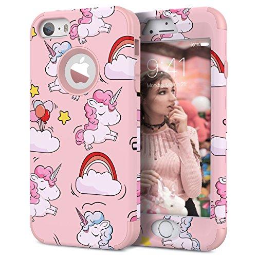 WE LOVE CASE Cover iPhone 5S / 5 / SE 360 Gradi Full Body Protection Custodia e Silicone Morbido Shockproof Hybrid 3 in 1 Protettiva Protezione Coperture Caso per Apple iPhone 5 5S SE - Rosa Unicorno