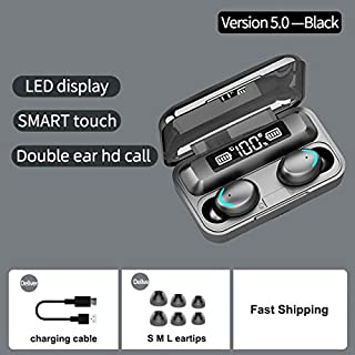 FairOnly F9-5 Blueteeth Earphones 5.0 Wireless Headphone 8D Bass Stereo In-ear Earbuds Handsfree Headset Built-in Microphone with 2000mAh Charging Case black Electronics