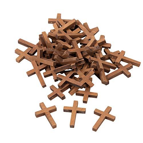 Genie Crafts Kleine Kreuz-Anhänger aus Holz (Set, 50 Stück) – Ideal zum Basteln, als Kettenanhänger, Schlüsselanhänger - Dekoration Zuhause, in Schule und Büro - Braun, 3 x 4,4 cm