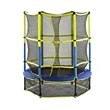 QQJL Bounce 55inch 4.5ft Kids Trampoline with Enclosure Safety Net Set with Skirt, Indoor Outdoor Fun Kid-Friendly Trampoline with Easy Assemble Feature