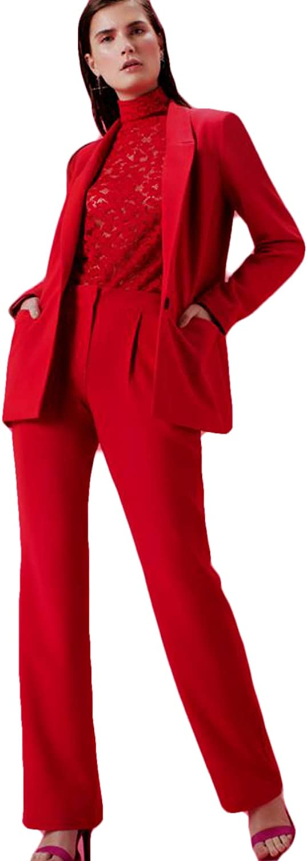 Xixi House Tailored 2 Piece Red Casual Set Women Business Uniform Suit Single Button Blazer Office Wear