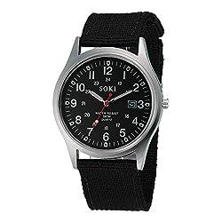 Luxury Brand Military Watches Men Quartz Analog Canvas Clock Sports Watches Army Military Watch (Black)