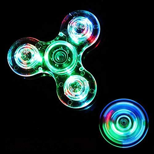 Luminous Led Light Fidget Spinner Hand Top Spinners Glow in Dark Light EDC Figet Spiner Finger Stress Relief Toys, Crystal