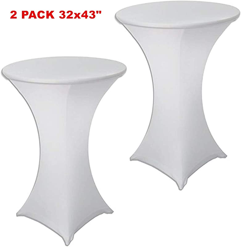 SUNTQ 2 Pack 32x43 Cocktail Spandex Stretch Square Corners Tablecloth White Weddings Birthday Vendors Outdoor Party DJ Banquet Tradeshows White 2PC 32X43inches