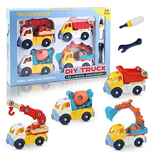 Sirecal Veicoli da Costruzione Auto Giocattoli Auto Giocattolo per Bambini Set di 4 Elementi con Escavatore, Gru, Camion Betoniera, Camion della Spazzatura