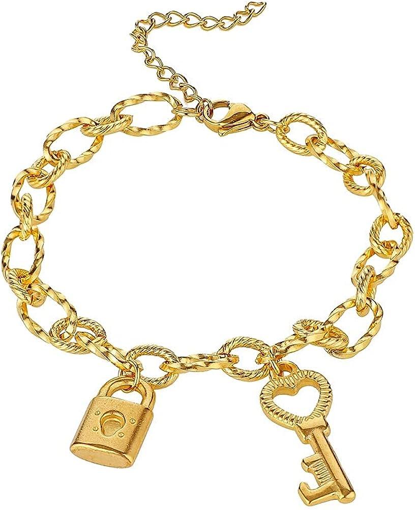 Couple Love Max 46% OFF Lock Key Bracelet Max 67% OFF Bracele Titanium Gold Steel Plated