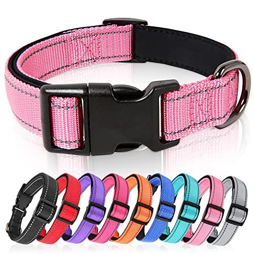 HEELE Hundehalsband, Hundehalsband aus Nylon, Reflektierend Halsband Hund mit Weich Neopren Gepolstert für Welpen Kleine Mittel Große Hunde, Pink, S