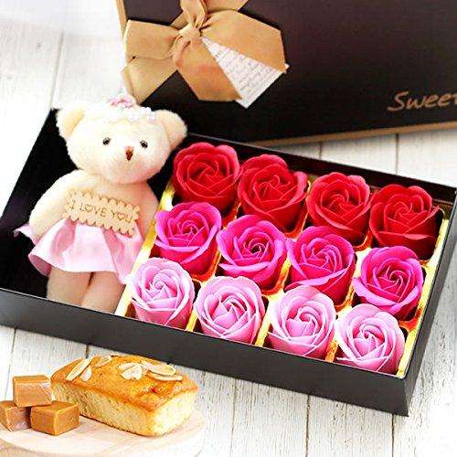母の日 の プレゼント おいもやケーキ焼き菓子 ギフトセット 母の日ギフト 造花 バラ シャボンフラワーとお菓子セット ローズテディベア+パウンドケーキ