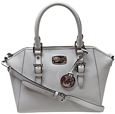 Michael Kors Ciara Large Top Zip Saffiano Leather Satchel (Optic White)