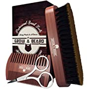 Beard Brush & Comb Set for Men | Giveaway Trimming Mustache Scissors | Premium Cardboard Gift Box | Best Bamboo Grooming Kit to Distribute Oil or Balm for Growth, Styling | Adds Shine & Softness