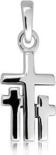 WithLoveSilver Sterling Silver 925 Triple Cross Pendant
