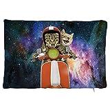 Maorongbu sostiene la funda de almohada doble, dos gatos piquant con vehículo en el espacio exterior para cama o sofá para decorar en casa y cocina, hotel o firme, el mejor regalo del día de la madre, Navidad, cumpleaños para mujeres, papá, amigos.