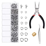 EuTengHao 1504pcs Open Jump Ring and Lobster Clasps Kit Jewelry Repair Tools Jewelry Making Supplies Kit with Jewelry Making Accessories for Necklace Making Repair (Silver)