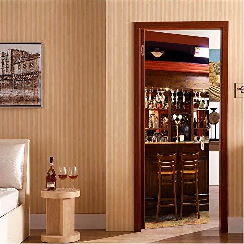 Türtapete Selbstklebend Türposter Bar Dekorfolie Selbstklebend Tapete Tür-Aufkleber Wandbild 95 * 215Cm