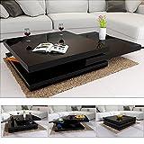 Deuba Table Basse de Salon Noir Moderne carré 80x80cm laquée Brillante rotative à 360° Charge...