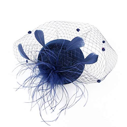 Lurrose Tocados diadema plumas velo fiesta de té sombreros vintage tocados accesorios...
