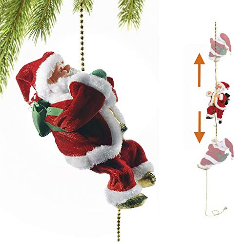 Battery Operated Lovely Hanging Santa Claus Climbing a Chain Musical Ornament