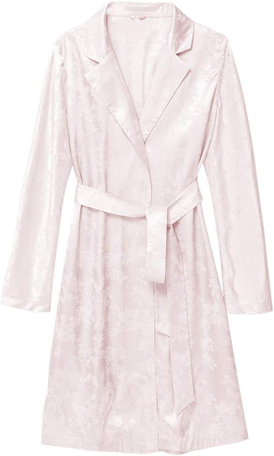 Home Service Female Sexy Retro Printed Nightgown LongSleeved Lace Bathrobe Home Service (color   Pink, Size   F)