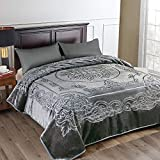 JML Fleece Blanket King Size, Heavy Korean Mink Blanket 85 X 95 Inches- 9 Lbs, Single Ply, Soft and Warm, Thick Raschel Printed Mink Blanket for Autumn,Winter,Bed,Home,Gifts, Grey