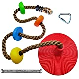 Warrior Parts & Accessories - AQPAKEE Tree Swing Climbing Rope with Platforms and Disc Seat for Kids – Outdoor Backyard Swingset Accessories - Kids Ninja Rope for Ninja Warrior Obstacle Course