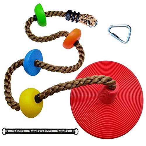 AQPAKEE Tree Swing Climbing Rope with Platforms and Disc Seat for Kids – Outdoor Backyard Swingset Accessories - Kids Ninja Rope for Ninja Warrior Obstacle Course