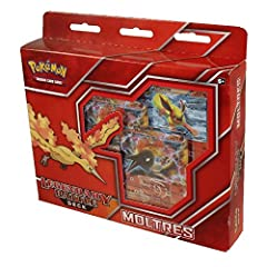 A Ready-to-Play 60-card deck, including 2 Moltres and 8 foil basic energy cards 1 metallic coin, 1 deck box, strategy guide, damage counters, 2-player playmat, and rulesheet Get started with one of the oldest legendary Pokémon birds at your command! ...