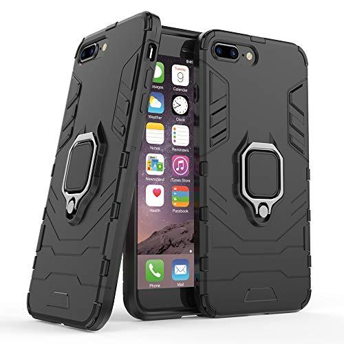jaligel Funda para iPhone 7 Plus / 8 Plus, funda con soporte para anillo de 360 grados (trabajar con soporte magnético para coche) funda de policarbonato protectora antigolpes antigolpes - Negro