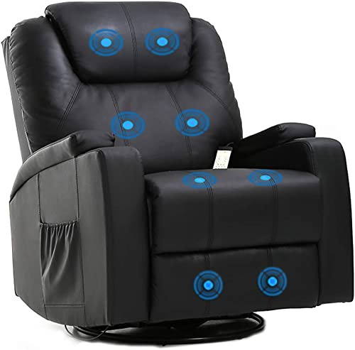 high quality Massage Recliner Chair Reclining Sofa PU Leather Electric Massage Chair with 360 new arrival Degree Swivel lowest Remote Control 8 Point Vibration Modes 2 Cup Holders outlet online sale