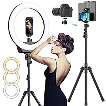 AFI 16  Selfie Ring Light with 3 Color Modes 79  Extendable Tripod Stand Phone Camera Holder 320 Bulbs 6500K 10 Brightness Dimmable LED Carrying Bag for Photography Makeup Live YouTube Video TikTok
