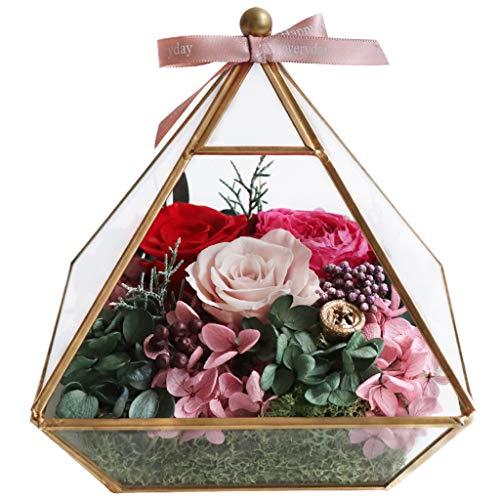 LZL Rosa preservada Cuarto de Flores conservado Flor Caja de Regalo de Cristal preservado Real Rosa Esposa Novia da de San Valentin cumpleaos Navidad Regalo Creativo Rosa eterna (Color : A)