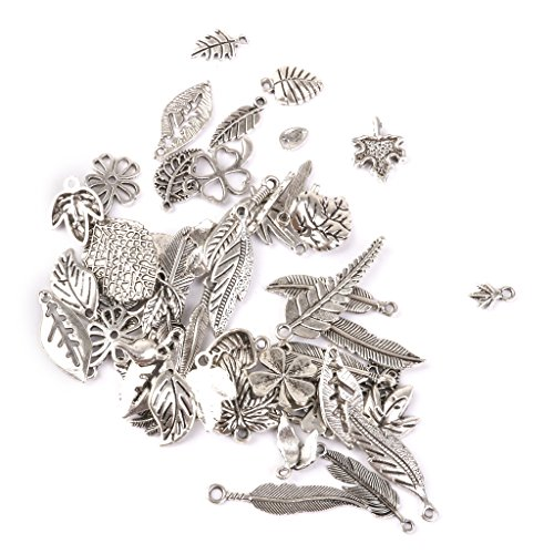 Abalorios con patrones de hojas para bisutería, aproximadamente 50 unidades