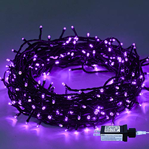 Indoor Christmas String Lights - 220 LEDs 82ft/25m 8 Modes Memory Function End-to-End Plug in Outdoor Waterproof Decorative Fairy Twinkle Lights for Halloween/Tree/Thanksgiving Day/Patio/Room - Purple