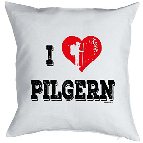 Coussin : I love Pélerins. Petit présente avec motif imprimé