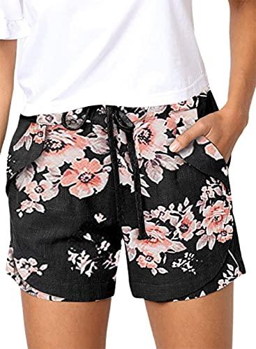 CORAFRITZ Pantalones cortos casuales de playa de color sólido para mujer, pantalones cortos de verano sueltos de cintura alta con cordón