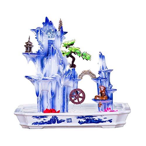 NYKK Meditation Fountain Large Ceramic Rockery Waterfall Fountain and Fisherman Feng Shui Wheel Craft Gift Desktop Fountain Living Room Office Humidifier,Blue Zen Tabletop Water Fountain