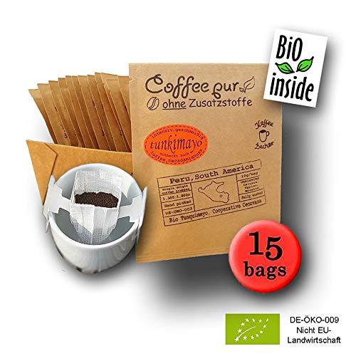 Life is You! Coffee Bags | (BIO) Tunkimayo Kaffee aus den Terrassen-Plantagen an den Hängen der Anden in Peru | 15 Coffee Bags (für Becher) | 100% Arabica - frisch & schonend handgeröster Filterkaffee