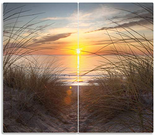 Wallario Herdabdeckplatte/Spritzschutz aus Glas, 2-teilig, 60x52cm, für Ceran- und Induktionsherde, Sonnenuntergang am Strand